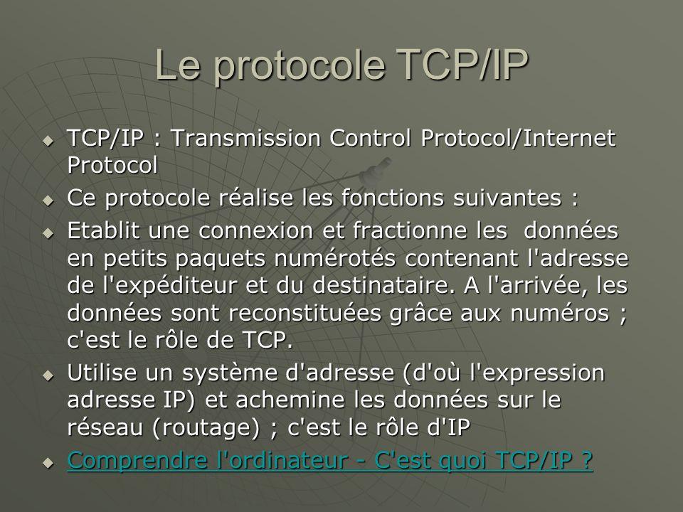 Le protocole TCP/IP TCP/IP : Transmission Control Protocol/Internet Protocol. Ce protocole réalise les fonctions suivantes :