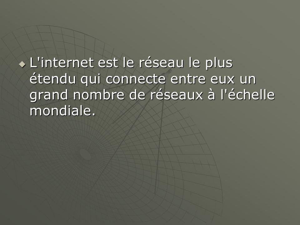 L internet est le réseau le plus étendu qui connecte entre eux un grand nombre de réseaux à l échelle mondiale.