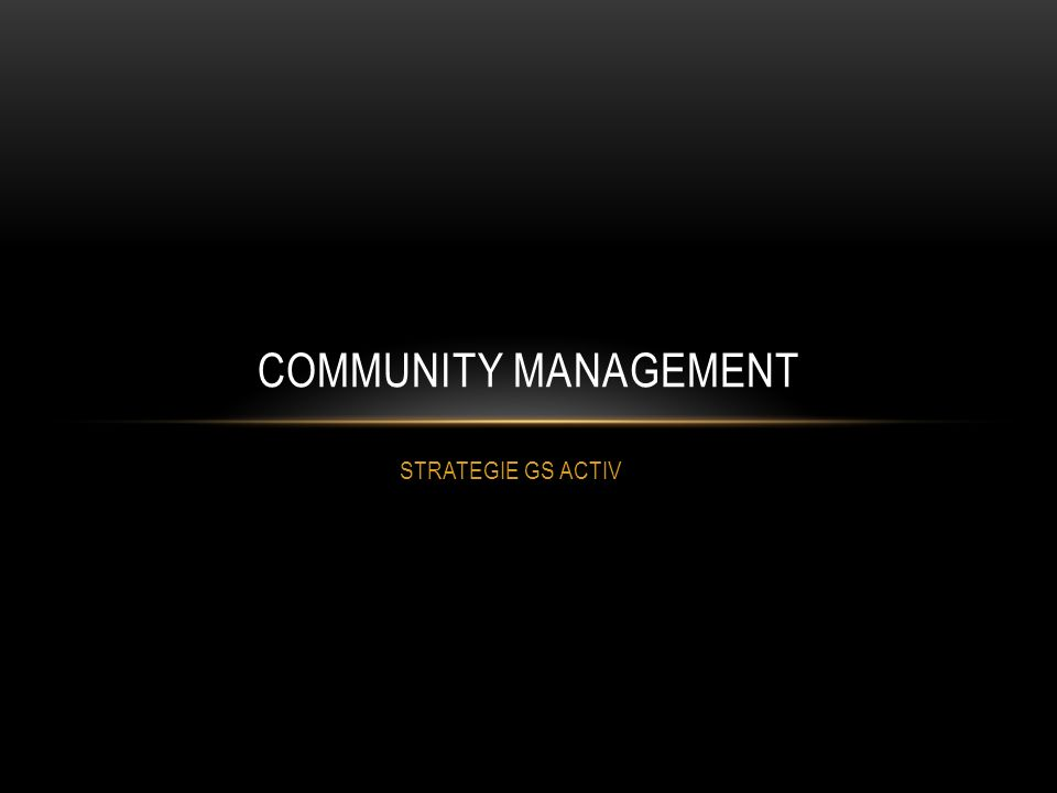 COMMUNITY MANAGEMENT STRATEGIE GS ACTIV