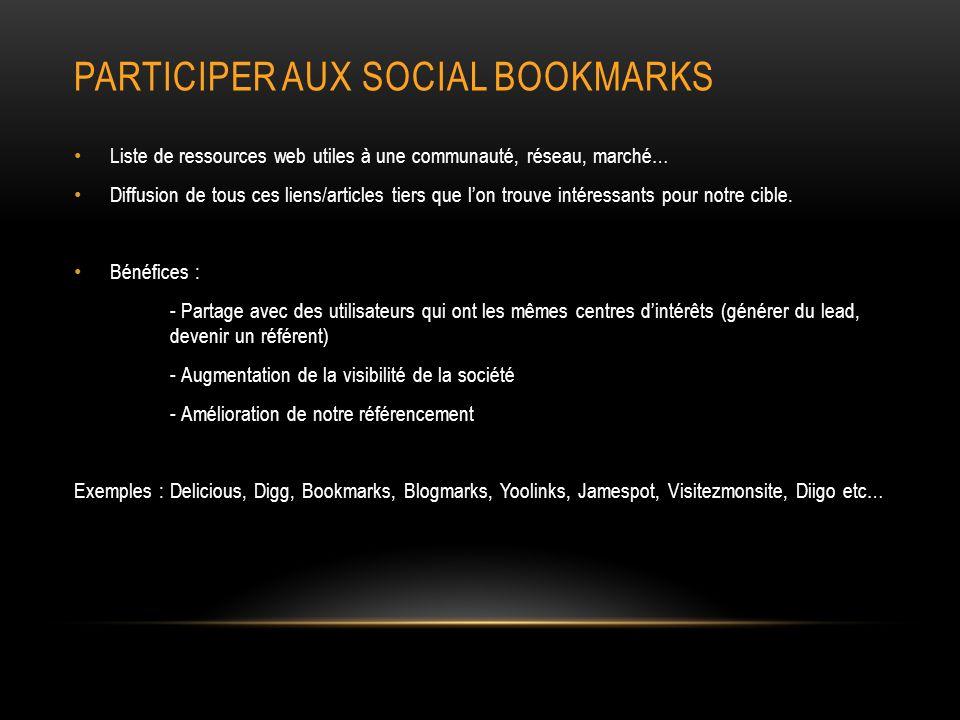 Participer aux Social bookmarks