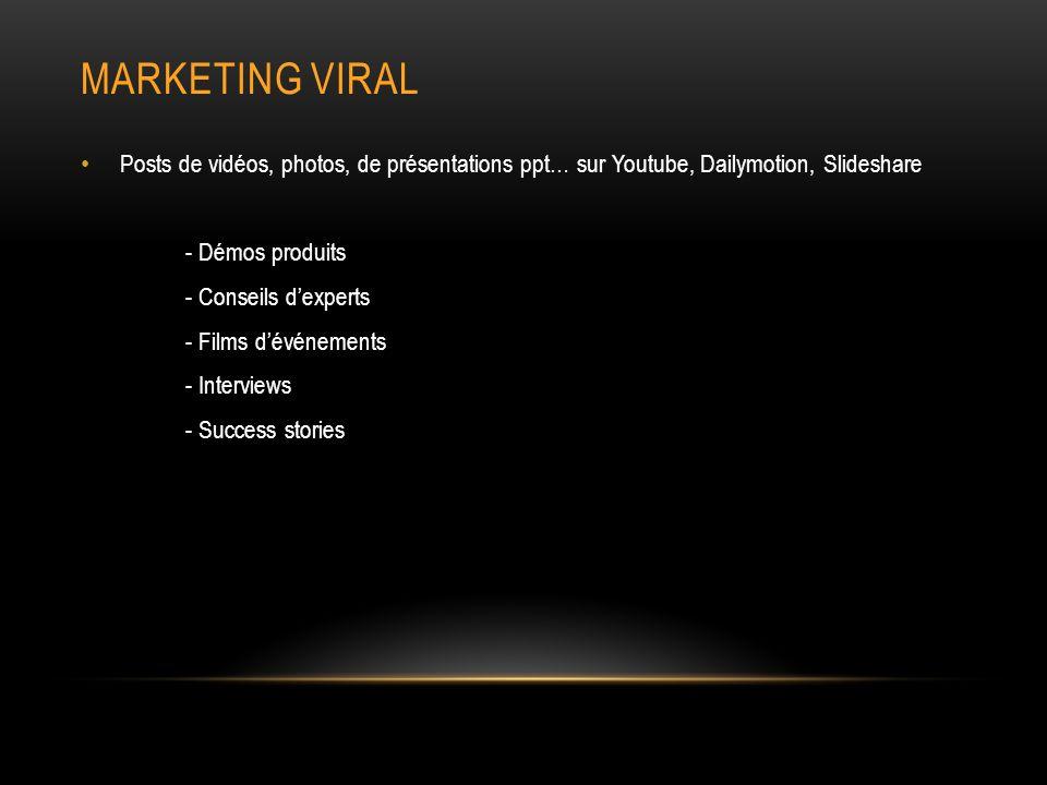 Marketing viral Posts de vidéos, photos, de présentations ppt… sur Youtube, Dailymotion, Slideshare.