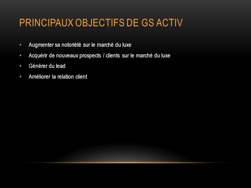 PRINCIPAUX OBJECTIFS DE GS ACTIV
