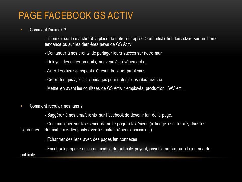 Page facebook gs activ Comment l'animer