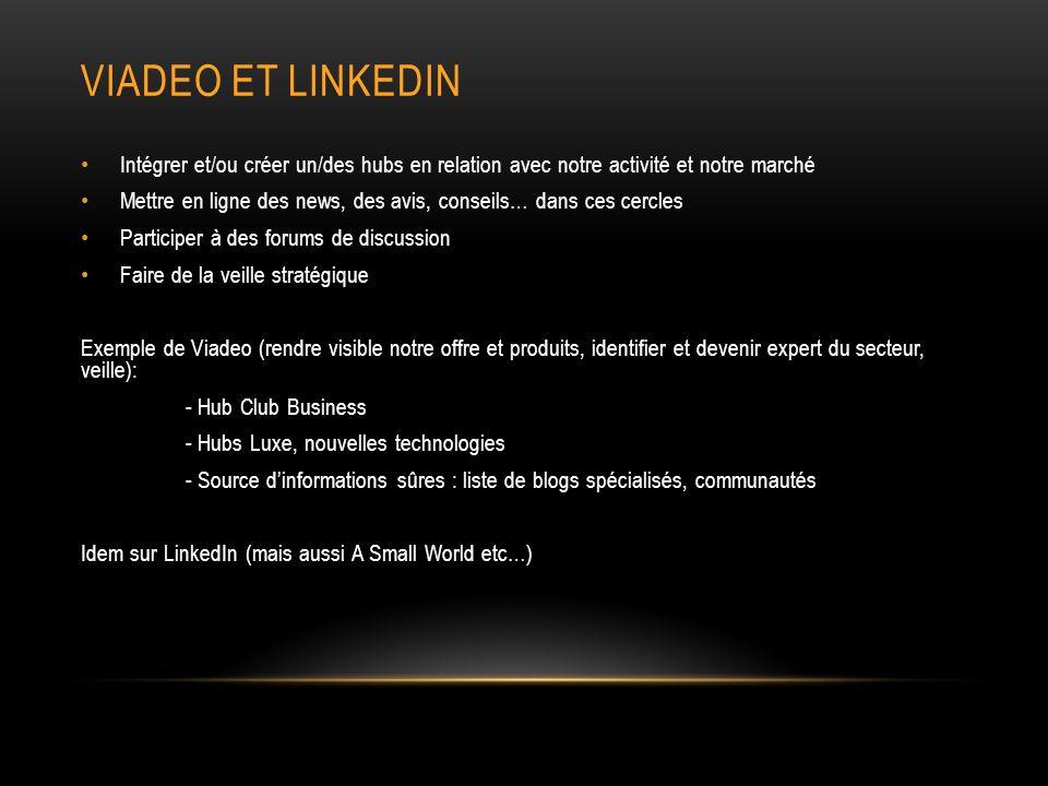 Viadeo et linkedin Intégrer et/ou créer un/des hubs en relation avec notre activité et notre marché.
