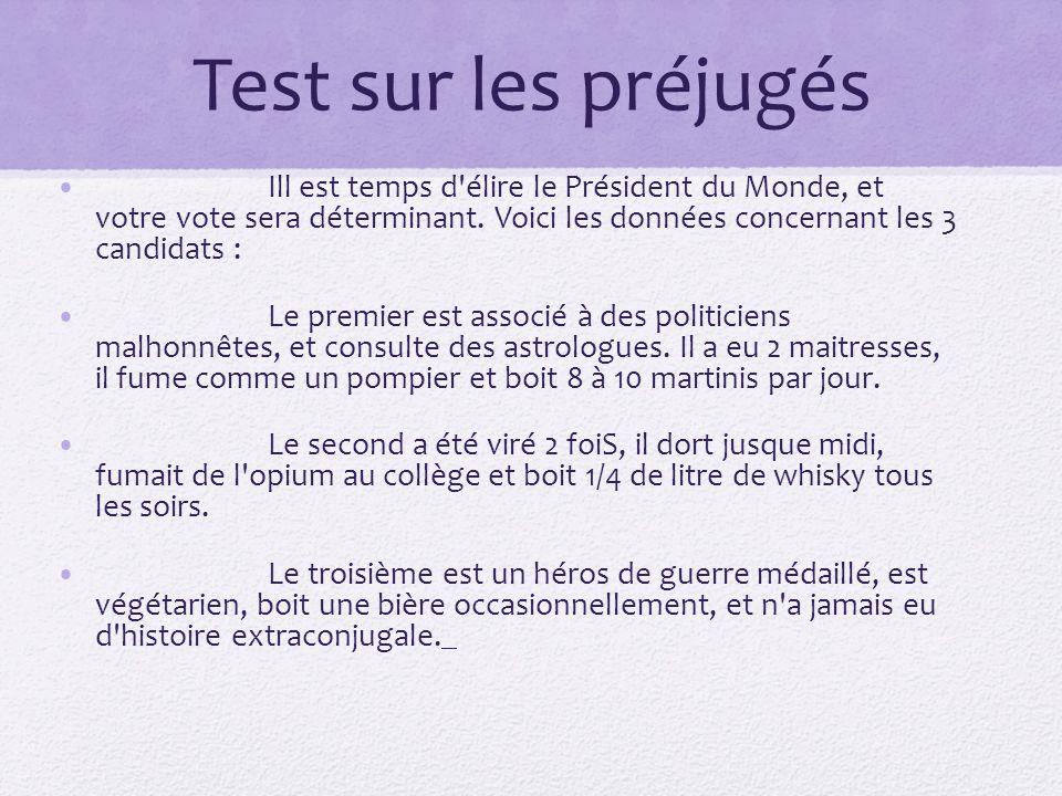 Test sur les préjugés Ill est temps d élire le Président du Monde, et votre vote sera déterminant. Voici les données concernant les 3 candidats :