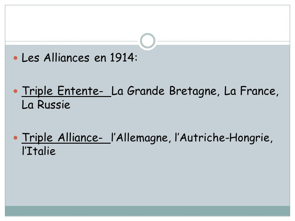 Les Alliances en 1914: Triple Entente- La Grande Bretagne, La France, La Russie.