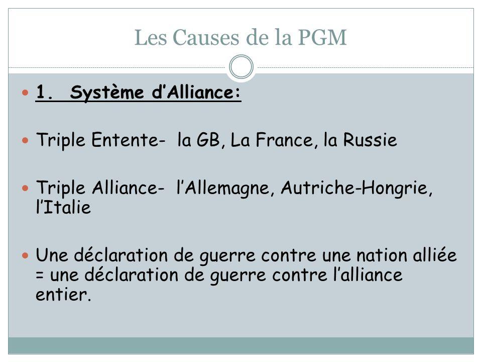 Les Causes de la PGM 1. Système d'Alliance: