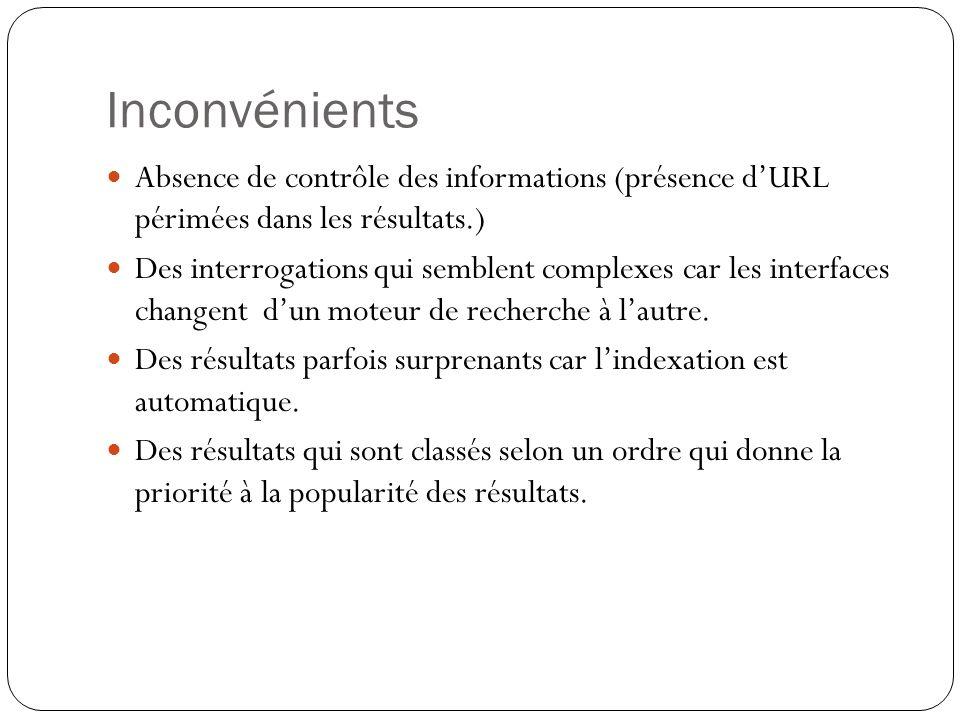 Inconvénients Absence de contrôle des informations (présence d'URL périmées dans les résultats.)