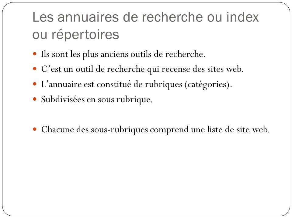 Les annuaires de recherche ou index ou répertoires