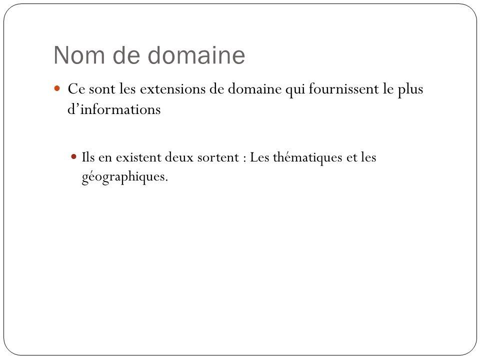 Nom de domaine Ce sont les extensions de domaine qui fournissent le plus d'informations.