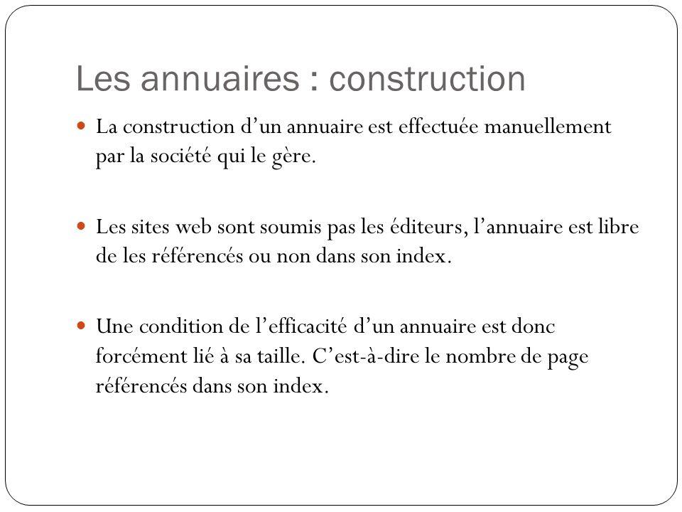 Les annuaires : construction
