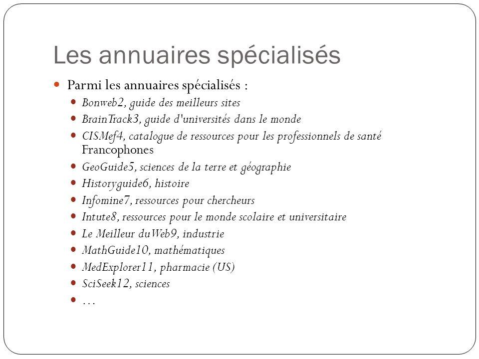 Les annuaires spécialisés