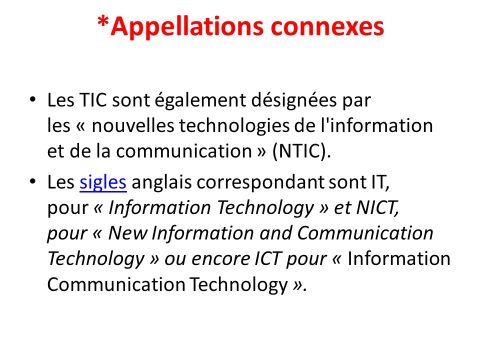 *Appellations connexes