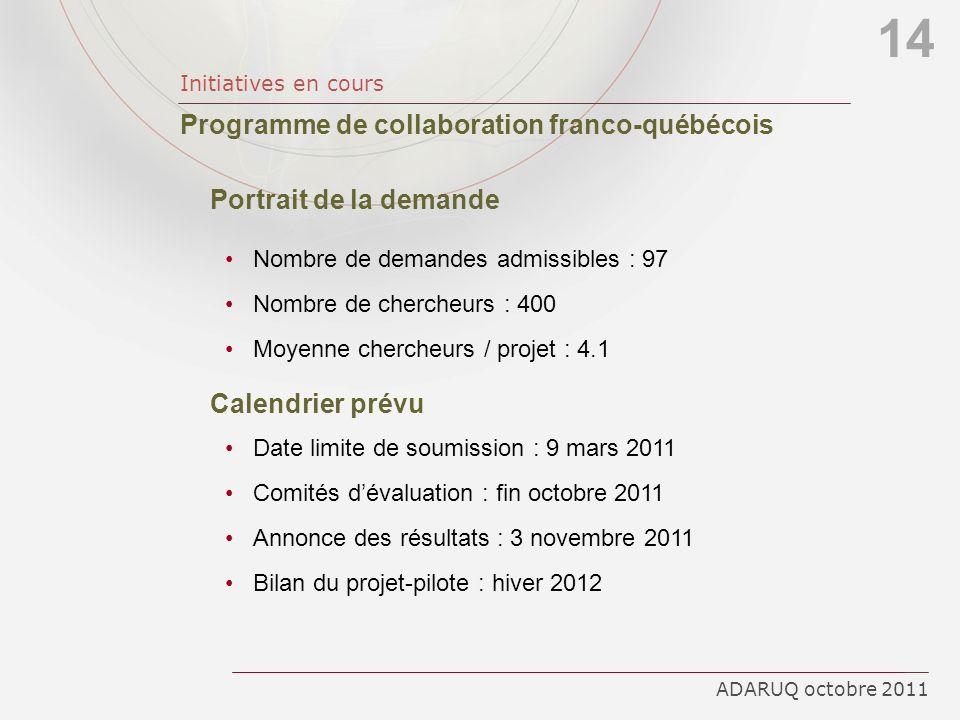 14 Programme de collaboration franco-québécois Portrait de la demande