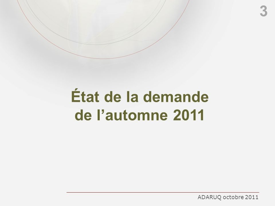 État de la demande de l'automne 2011