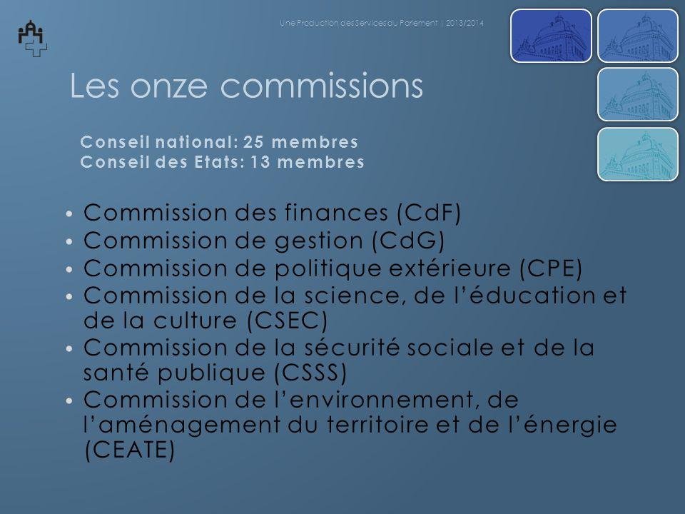 Les onze commissions Commission des finances (CdF)