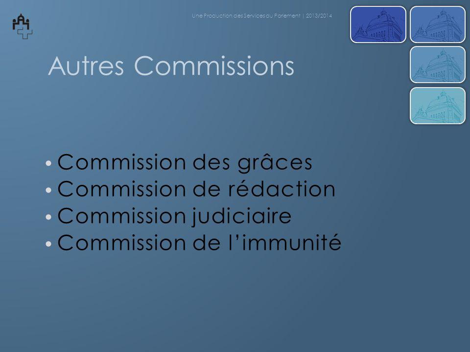 Autres Commissions Commission des grâces Commission de rédaction