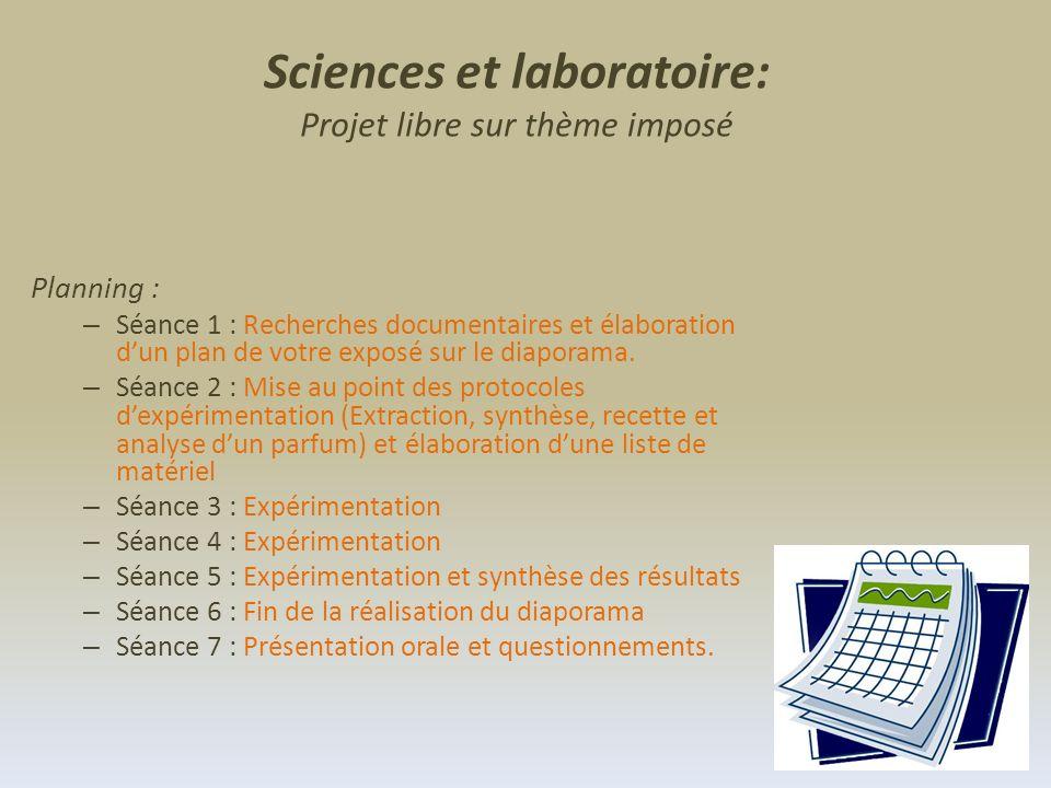 Sciences et laboratoire: Projet libre sur thème imposé