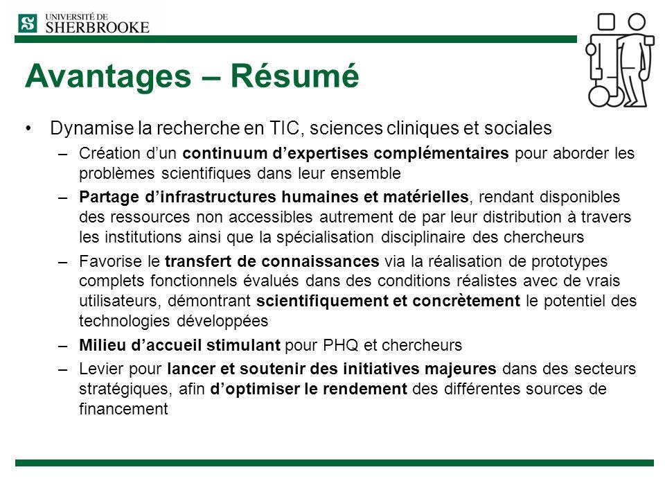 Avantages – Résumé Dynamise la recherche en TIC, sciences cliniques et sociales.