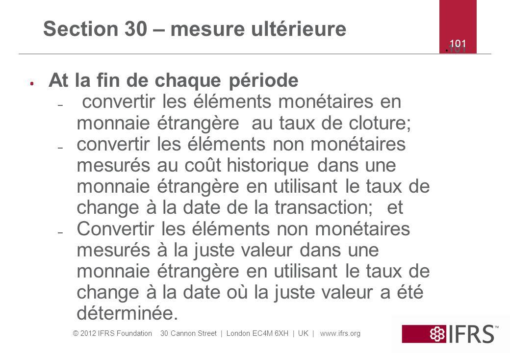 Section 30 – mesure ultérieure