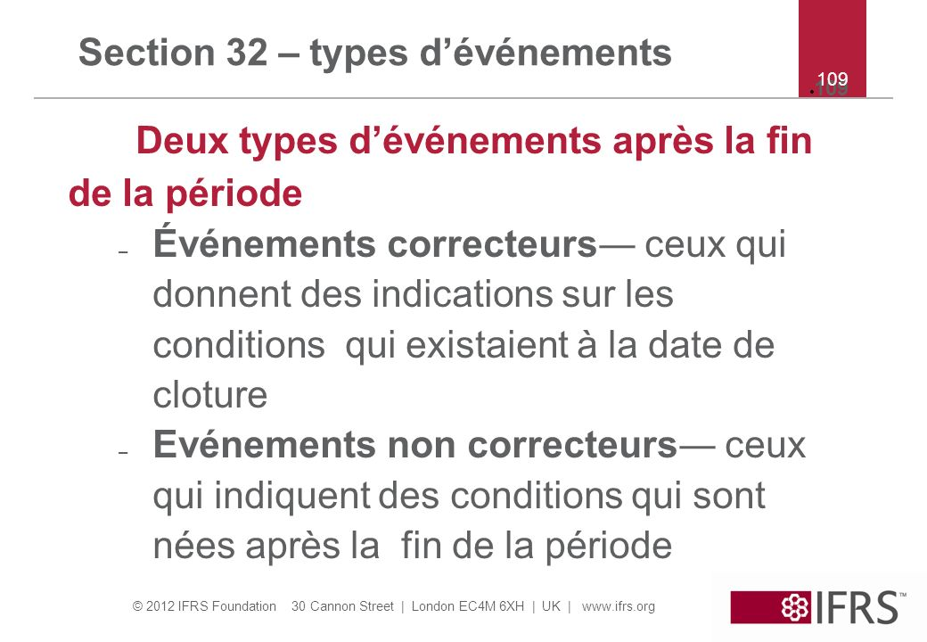 Section 32 – types d'événements