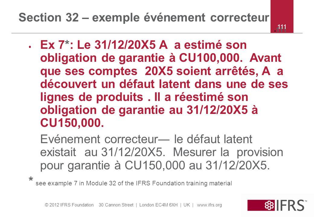 Section 32 – exemple événement correcteur