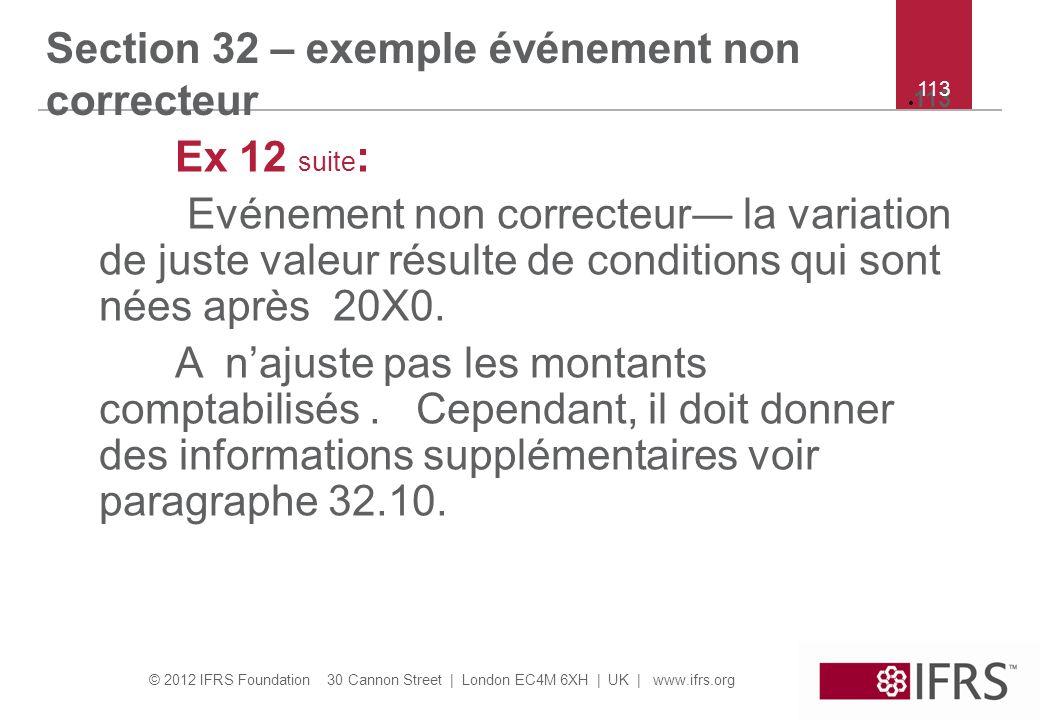 Section 32 – exemple événement non correcteur