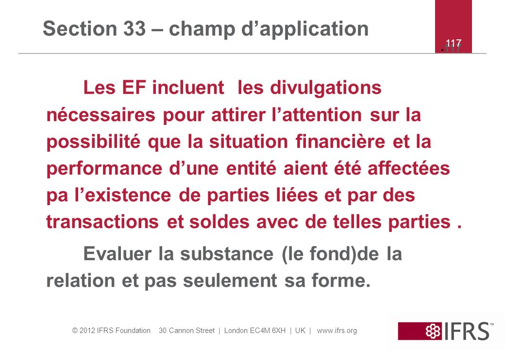 Section 33 – champ d'application