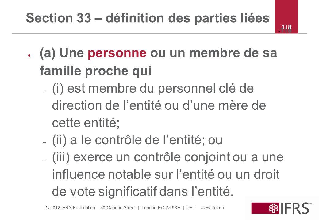 Section 33 – définition des parties liées