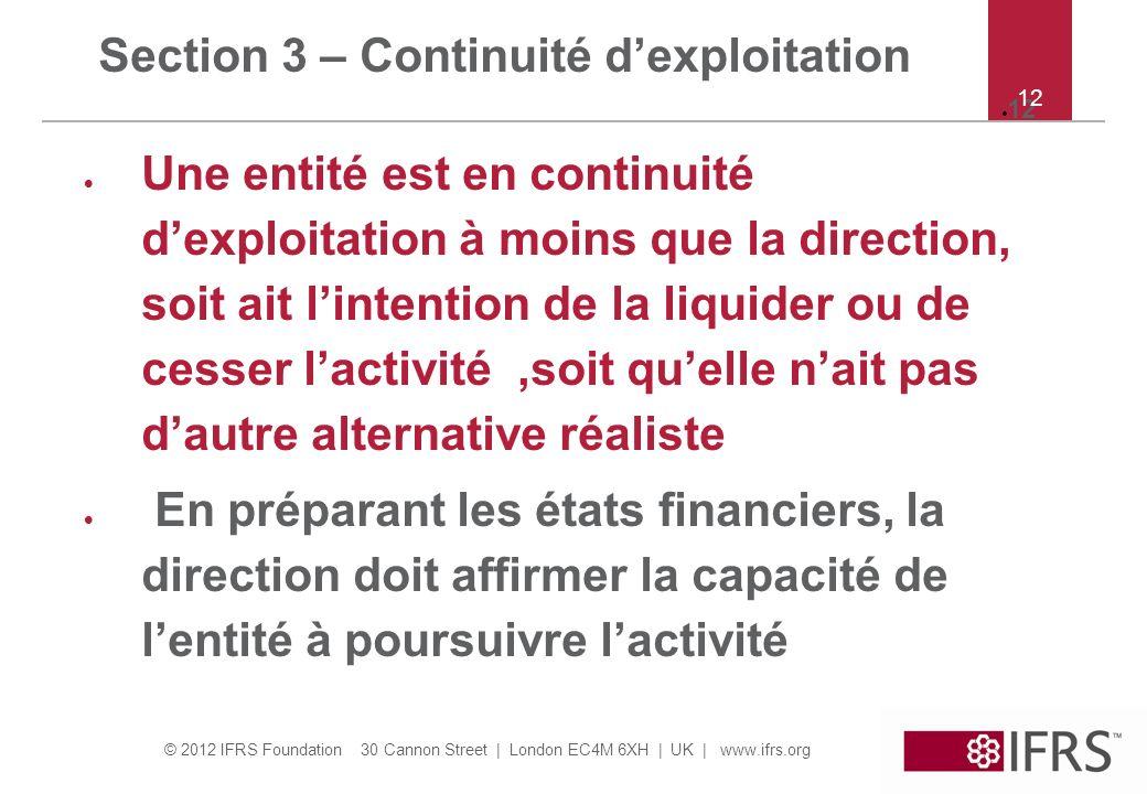 Section 3 – Continuité d'exploitation