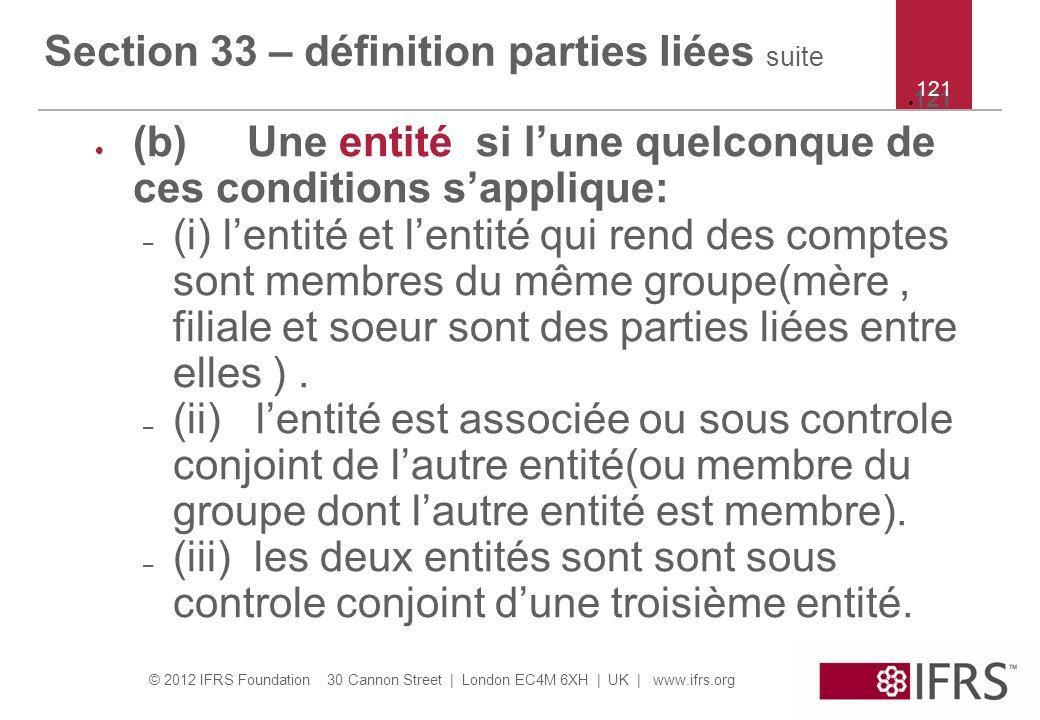 Section 33 – définition parties liées suite