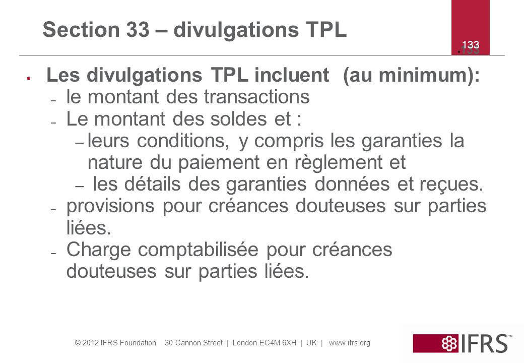 Section 33 – divulgations TPL