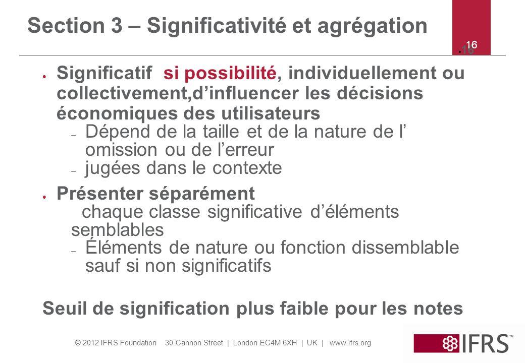 Section 3 – Significativité et agrégation