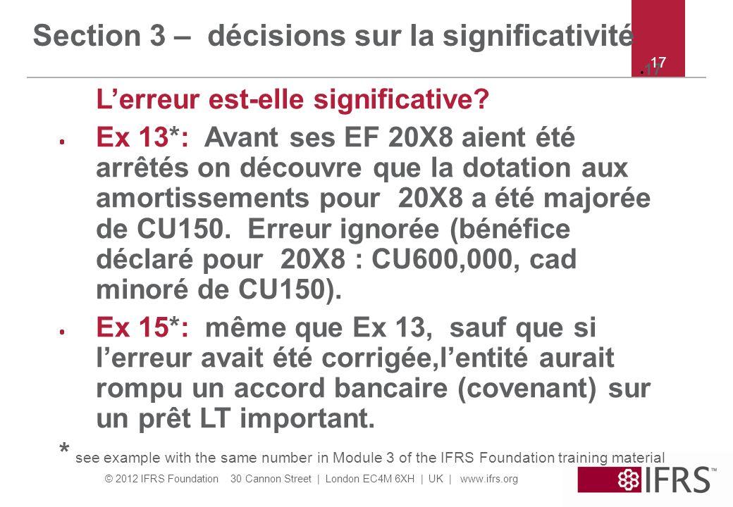 Section 3 – décisions sur la significativité