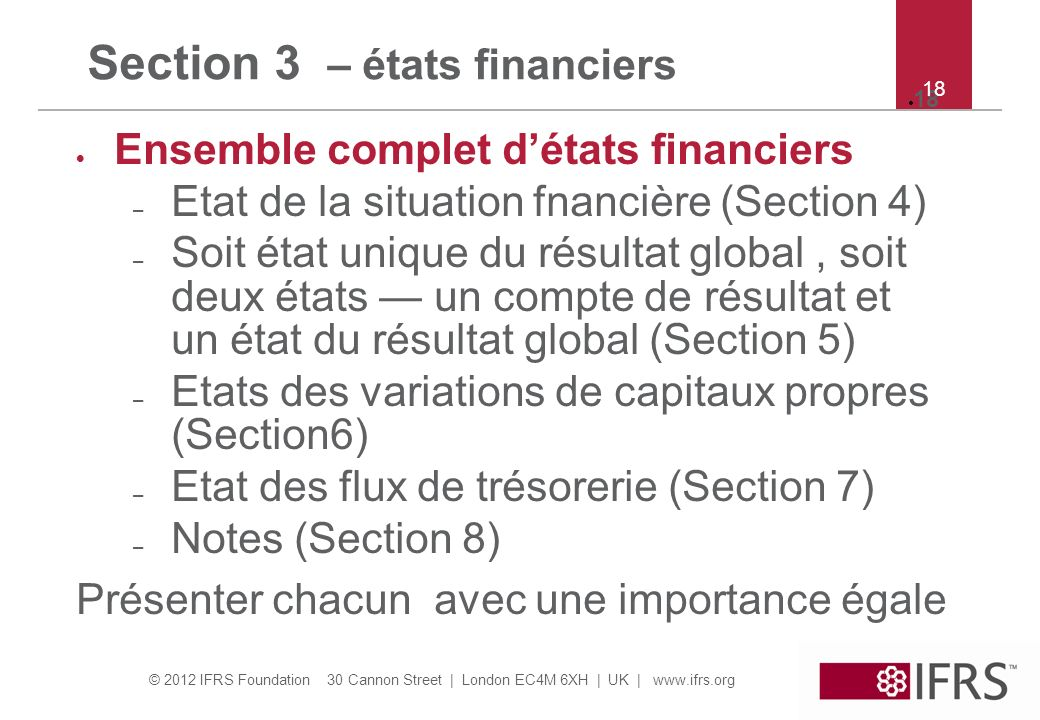 Section 3 – états financiers
