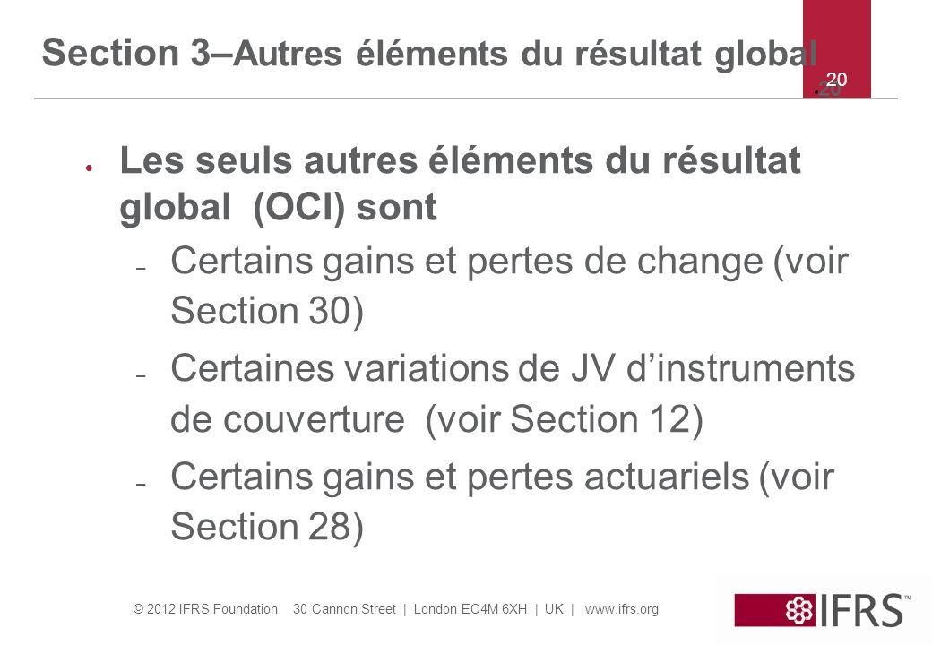 Section 3–Autres éléments du résultat global