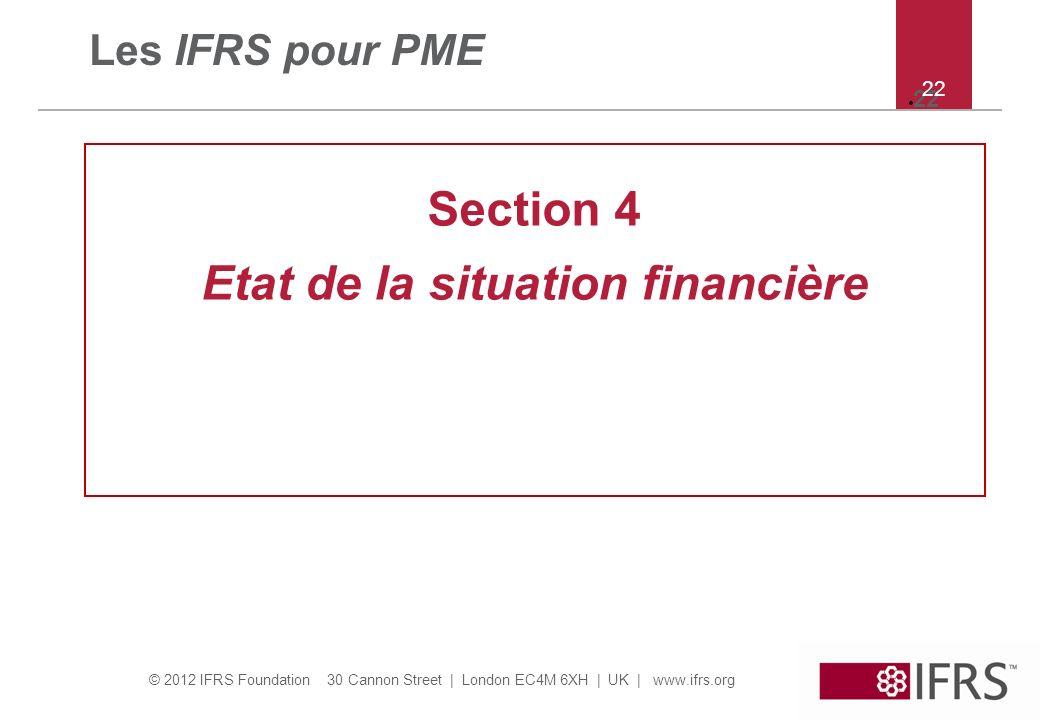 Etat de la situation financière