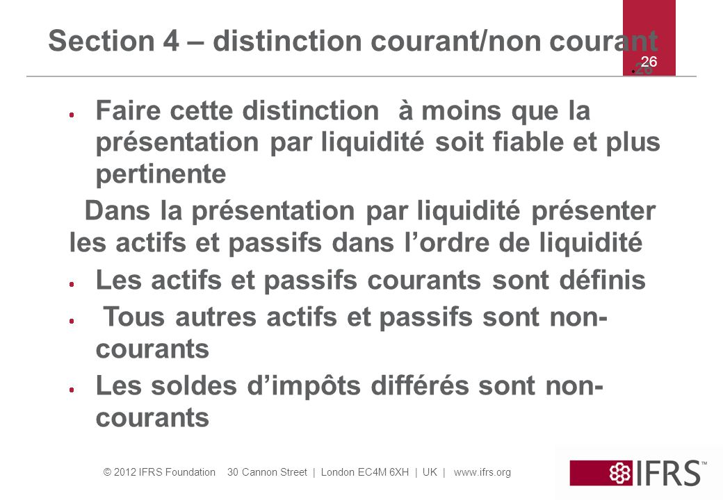 Section 4 – distinction courant/non courant