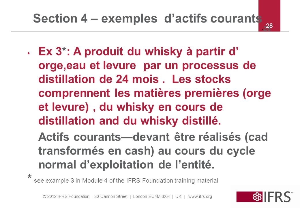 Section 4 – exemples d'actifs courants