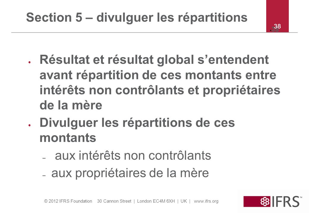 Section 5 – divulguer les répartitions
