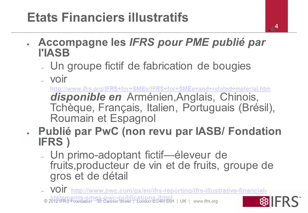 Etats Financiers illustratifs