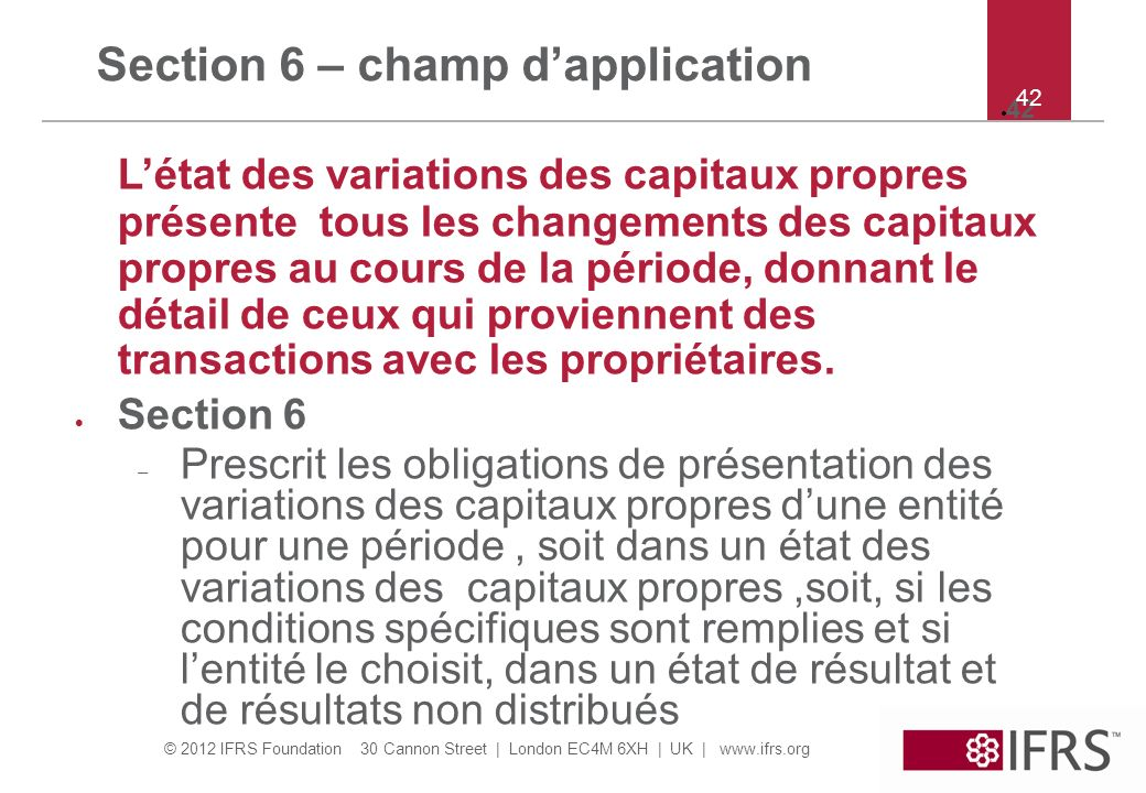 Section 6 – champ d'application