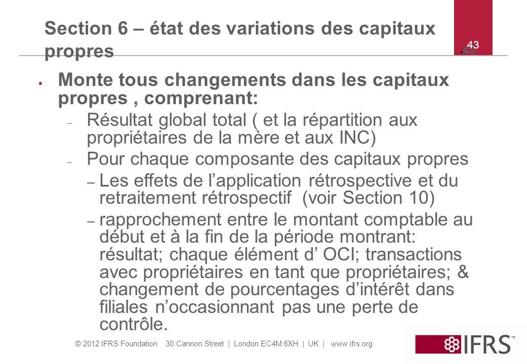 Section 6 – état des variations des capitaux propres