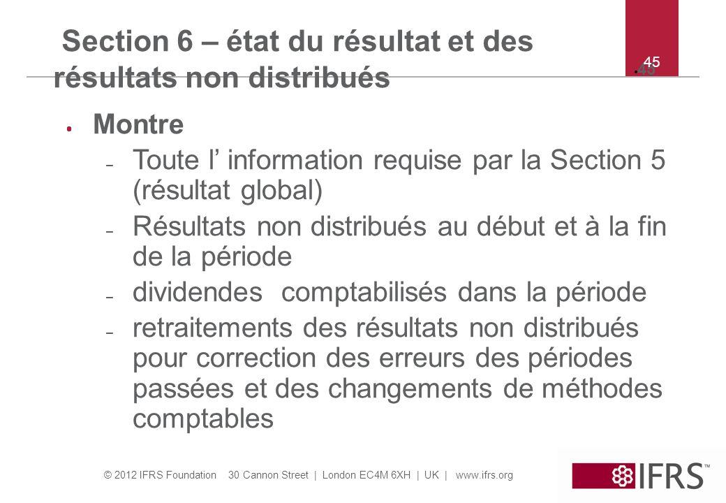 Section 6 – état du résultat et des résultats non distribués