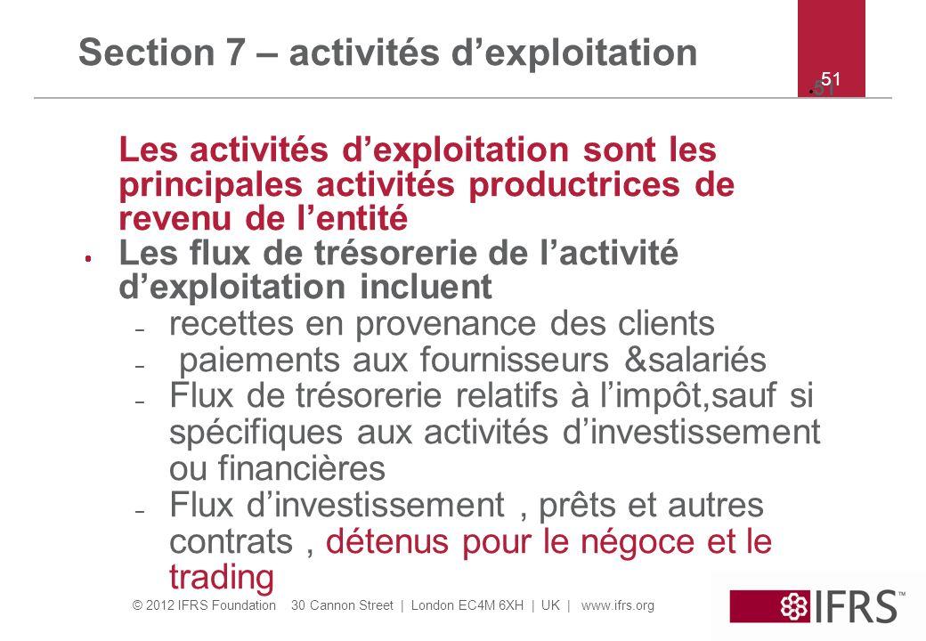 Section 7 – activités d'exploitation