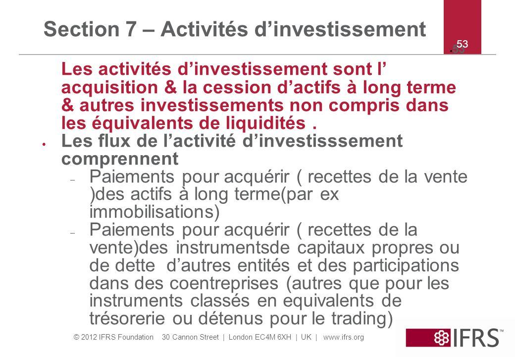 Section 7 – Activités d'investissement