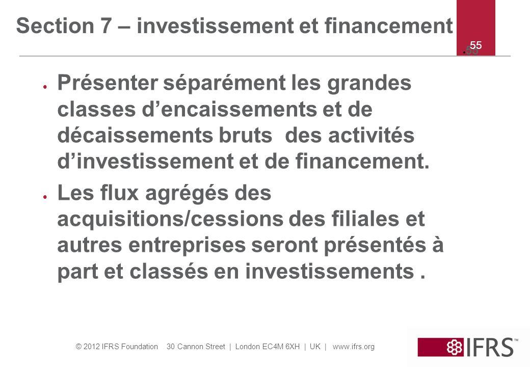 Section 7 – investissement et financement
