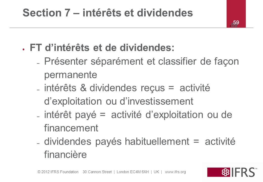 Section 7 – intérêts et dividendes