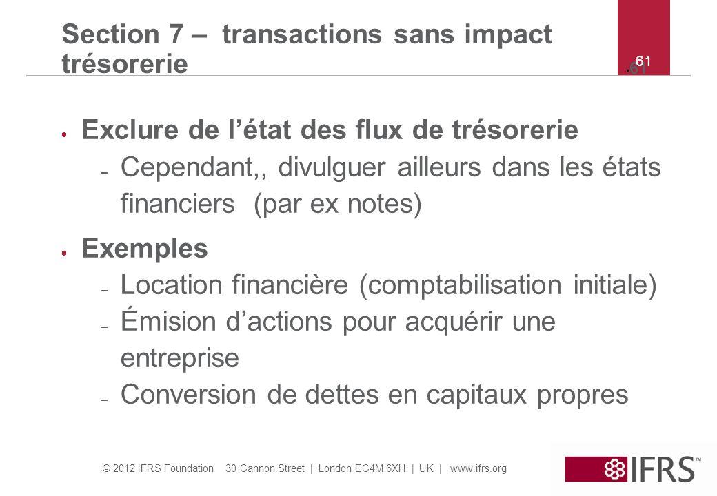 Section 7 – transactions sans impact trésorerie