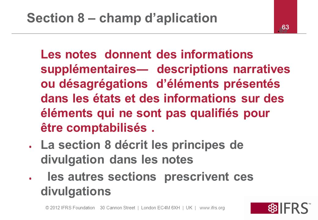 Section 8 – champ d'aplication